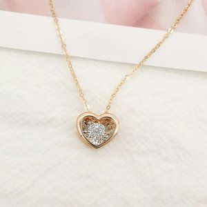 SOLID 18K GOLD DANCING HEART NECKLACE